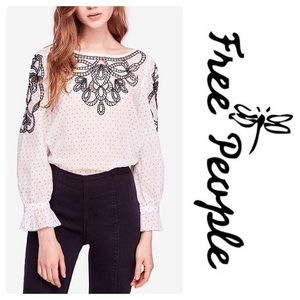 FP Everything I Know Embroidered Cut Out Blouse